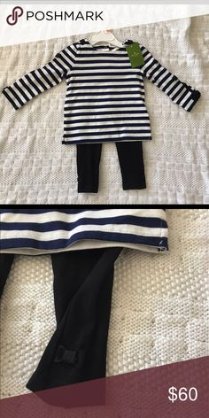 Kate Spade 12month baby girl outfit Kate Spade outfit!  Navy and white striped long sleeve shirt with black bows on the sleeves and shoulders.  Long black leggings with black bows at the ankles. kate spade Matching Sets