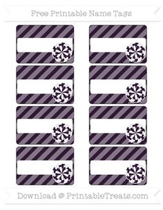 Free Dark Purple Diagonal Striped  Cheer Pom Pom Name Tags