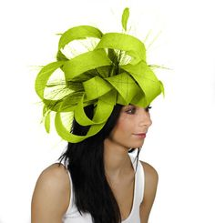 Ralitza Bright Lime Fascinator Hat for Weddings by Hatsbycressida, $120.00