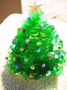 Green or White Sea Glass Christmas Tree Made to by mexicobeachgirl