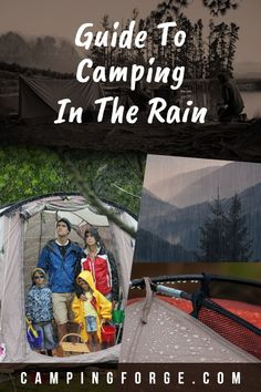 Use these tips to keep yourself dry when it's raining on your camping trip. Kids Camping Gear, Snow Camping, Camping In The Rain, Retro Camping, Diy Camping, Camping Hacks, Camping Essentials, Camping Guide, Camping Ideas