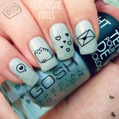 Geordie Nails: Pusheen Manicure