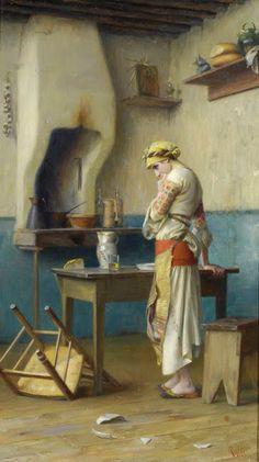 Untitled Interior Scene by Theodoros Ralli Oil Painting On Canvas, Canvas Art, Greek Paintings, Oriental, Cottage Art, Greek Art, Chiaroscuro, Lausanne, Beautiful Paintings