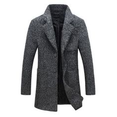 New winter men's wool woolen coat Men cultivating long section of business casual windbreaker jacket long section Men's clothes
