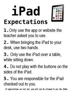 Great to teach students! This is a link to a printable list of iPad expectations that you can display in your classroom. Due to the cost and responsibility I think it is important to establish expectations early for iPad use. Technology Management, Teaching Technology, Technology Integration, Educational Technology, Classroom Behavior, School Classroom, Classroom Management, Classroom Rules, Classroom Ideas