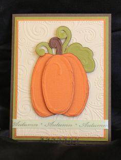 Pumpkin Fall Greeting Card  A2 Dry Embossed Card  by PaperKayper