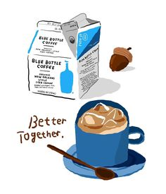 Today enlightenment: better together Dori gifts 🐟 Blue Bottle Coffee Coffee Illustration, Watercolor Illustration, Graphic Illustration, Cute Food Drawings, Art Drawings, Blue Bottle Coffee, Food Illustrations, Name Cards, Cute Stickers