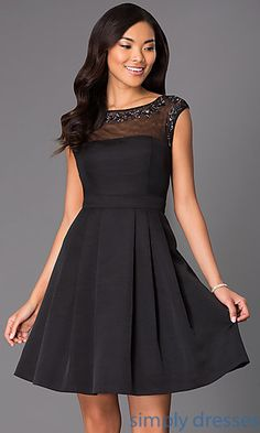 Short Black Cap Sleeve Dress at SimplyDresses.com  IT-118704