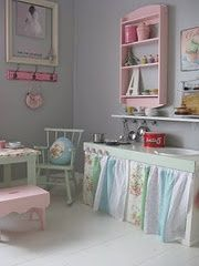 Shabby chic kitchen for the playhouse interior