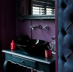 cloakroom painted in pelt by farrow & ball Farrow Ball, Purple Interior, Interior And Exterior, Interior Design, Farrow And Ball Living Room, Downstairs Cloakroom, Blue Rooms, Blue Walls, Houses