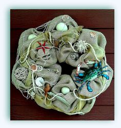 Full Burlap Beach Wreath with Crab and Shells by TheBurlapWreath, $95.00