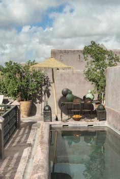 Morocco, The swimmingpool in the terrace of Riad Dar Darma in Marrakech