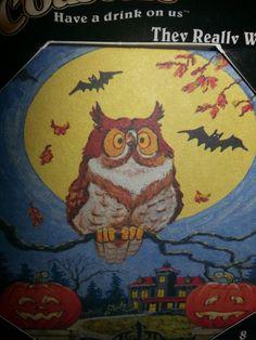 8 PaperKraft Biodegradable Coasters Fall Autumn Halloween Owl Pumpkin Bats New #PaperKraft
