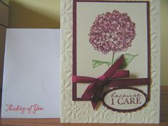 Because I Care/Thinking of You Greeting Card by stitchesandstuff, $3.95