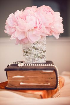 Old books, lace, pearls and peonies Style Me Pretty   Gallery   Picture   #668542