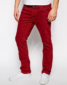 €94, Rote Kordjeans von Nudie Jeans. Online-Shop: Asos. Klicken Sie hier für mehr Informationen: https://lookastic.com/men/shop_items/124487/redirect