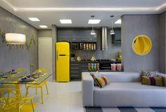 Home Decor Kitchen, Kitchen Design Open, Small Apartment Interior, Kitchen Decor, Retro Fridge Kitchen, Sweet Home, Home Kitchens, Loft Style, Kitchen Design