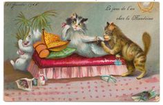 Funny Boulanger - Cat Lady with Suitor Distracted as Friend Gobbles her Candy