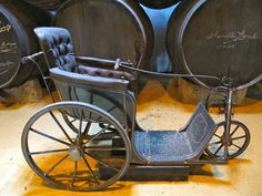 Vintage Wheelchair .. it had been used by the founder of the bodega in the late 19th century, and was bought from a J. Ward of Leicester Square in London