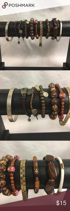 Brown Tone Bracelet Bundle Different sizes. Good condition Jewelry Bracelets