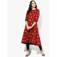 31aa7f81617 Buy Sangria Beige Cotton Flared Printed Anarkali Kurti online