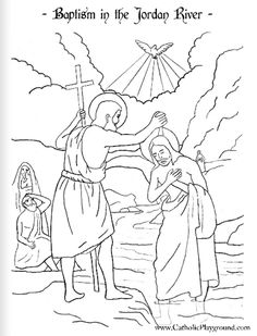 free coloring pages of jesus baptism   The 5th Joyful Mystery Coloring Page - Finding Jesus in ...