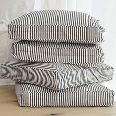 striped square floor cushions for Kate's playroom