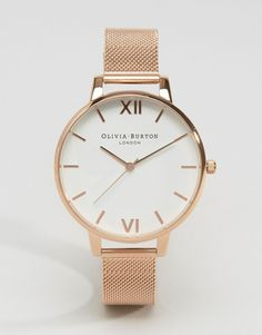 Olivia+Burton+Rose+Gold+Big+Dial+Mesh+Watch