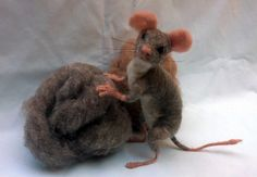 Needle Felted Mouse Poseable Soft Sculpture of by MyBuddyBling, $49.00