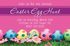 A Easter Egg Flowers Invitations Easter Invitations, Flower Invitation, Diy Invitations, Egg Hunt, Printing Services, Easter Eggs, Rsvp, Color Schemes, Software