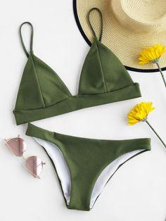 Ensemble de Bikini triangle avec détaille découpe -French Romwe