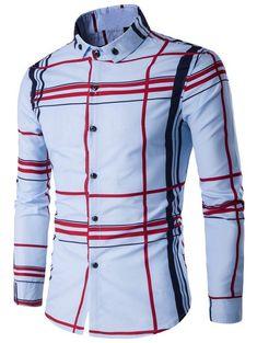 Turndown Collar Color Block Linellae Print Long Sleeve Shirt | NastyDress.com