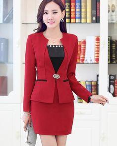New 2016 Spring Fall Formal Women Elegant Skirt Suits Red Blazer and Jacket  Sets Fashion Ladies 9ebc57882ec