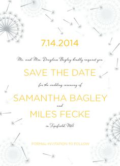 Save the Date Card - Dandelion Wish