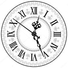 Illustration of Antique clock Vector illustration vector art, clipart and stock vectors.