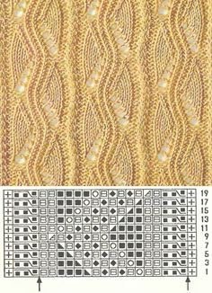 Ажурные узоры Rib Stitch Knitting, Lace Knitting Stitches, Crochet Stitches Patterns, Knitting Charts, Crochet Chart, Loom Knitting, Knitting Socks, Knitting Designs, Shawl Patterns