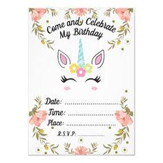 Unicorn Birthday Invitation - unicorn birthday diy gift idea present unicorns customize Unicorn Themed Birthday, Unicorn Birthday Invitations, Diy Invitations, Birthday Diy, Birthday Party Decorations, Invitation Cards, Birthday Dates, Unique Birthday Gifts, Creative Logo