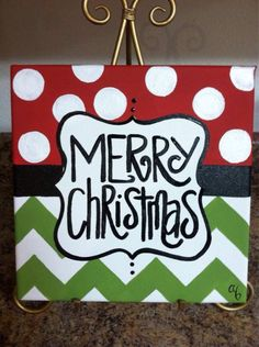 12x12 Christmas Canvases by Artbyab on Etsy.. easy enough to so at home...