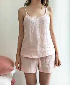 Linen pyjama pink pajama pajama shorts and top pajama by linenbees Linen Trousers, Linen Shorts, Night Gown, Night Night, Pajama Shorts, Fashion Plates, Lounge Wear, Cute Outfits, Knights