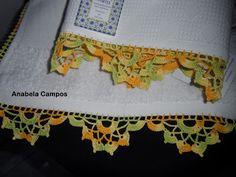 .: Barrado de croche em pano de cozinha Knit Patterns, Crochet Necklace, Towel, Embroidery, Knitting, Crochet Edgings, Clothes, China, Bags