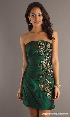 Short Strapless Green Dress 1065