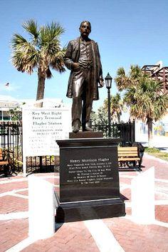 Henry Flagler statue stands watch near Key West Bight Ferry Terminal