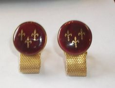 Vintage Maroon Enamel Fleur De Lis Men's DESTINO by feathersoup, $17.00