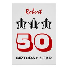 50 Birthday Item or ANY AGE Custom Striped Stars Poster   To see more customizable striped Jaclinart gift items:   http://www.zazzle.com/jaclinart+striped+gifts?st=date_created&ps=120  #stripes #striped #pattern #jaclinart #design #create