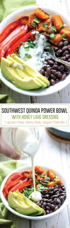 A filling plant-based meal using simple whole foods and some adobo seasoning makes for one delicious Southwest Quinoa Power Bowl. Top with a healthy, homemade honey lime dressing and this bowl will be on repeat! Packed with protein and fiber, plus gluten-free, and dairy-free friendly.