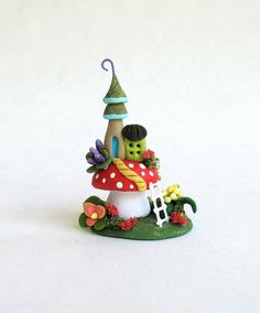 Miniature  Whimsical Fairy House On Toadstool by ArtisticSpirit