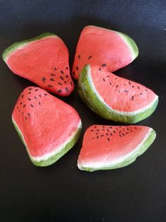 Painted Rocks, Set of 5 Watermelon Pieces, Acrylic,