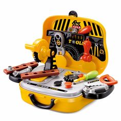 Construction Tools Toy Set for Baby Boy Plastic Chainsaw Screws Hammer Pretend Play Kids Suitcase Garden Carpentry Tool Box D51