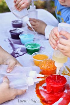 Gorgeous rainbow eruptions for kids - no vinegar needed!