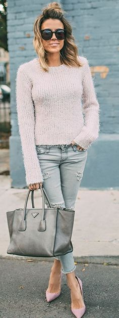 Girly In Pink And Gray Fall Street Style women fashion outfit clothing stylish apparel @roressclothes closet ideas